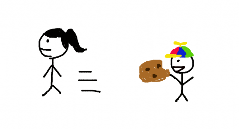 A female walked away from a cookie while the kid with a colorful cap takes a bit of the cookie