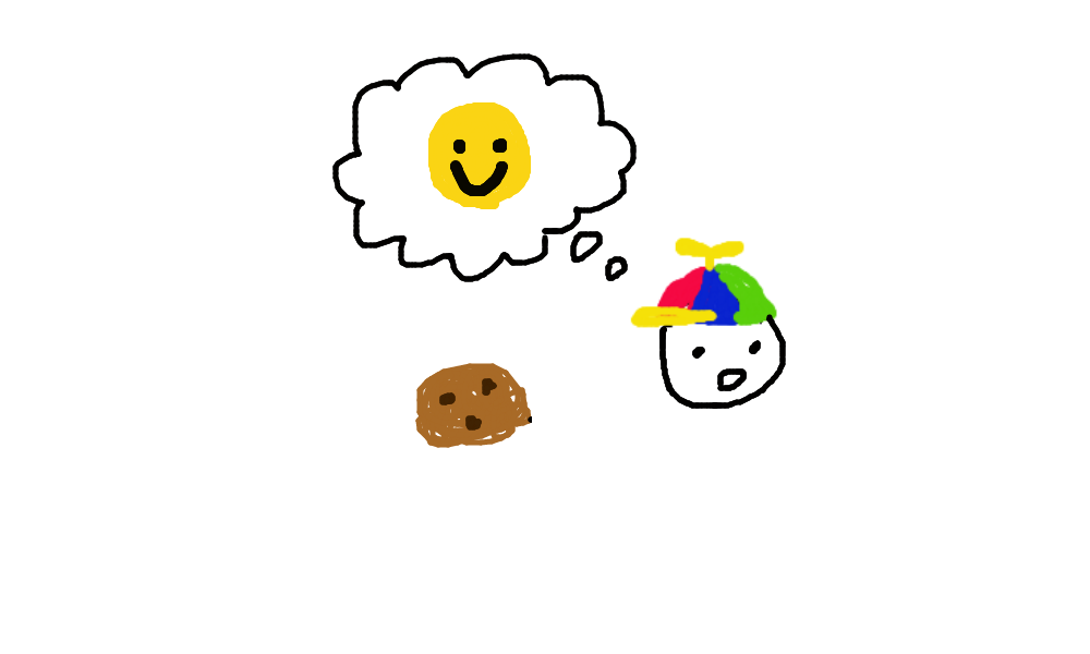 A boy with colorful hat sees a cookie and have a happy smiley face appeared in his mind